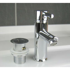 Sink Basin Mono Mixer Tap Single Lever Chrome Brass With Plug Click Clack Waste