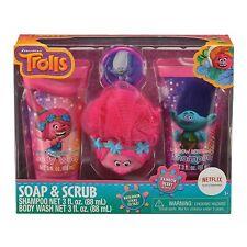 Trolls Childrens Bath Gift Set - Shampoo, Body Wash, Bath Scrubby & Hook