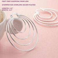 New Women Fashion Jewelry 925 Sterling Silver Plated Big 4 Hoop Dangle Earrings