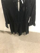 Seafolly Black Broderaise Playsuit Size L