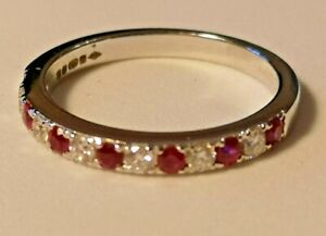 Ruby and Diamond eleven stone half hoop ring 18ct white gold rrp £1320