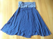 WITCHERY BLUE RAW SILK WRAP SKIRT WITH WIDE BAND SIZE S