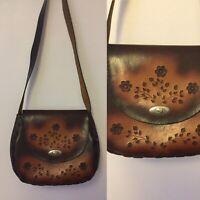 Vintage 1970s Leather Shoulder Bag Embossed Floral Pattern Boho Hippy