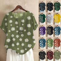 UK Plus Size Womens Summer Cotton Linen Floral Tops Ladies Loose Blouse T Shirts
