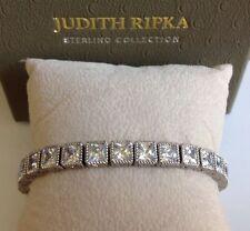 "Judith Ripka Sterling 7-1/4"" Princess Cut Diamonique Tennis Bracelet"