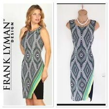 Beautiful FRANK LYMAN Colourful Stretchy Bodycon Jersey Dress Uk 10