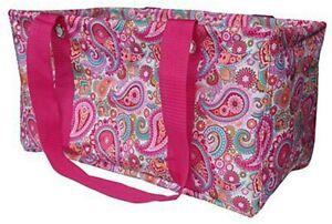 Thirty-one Medium Utility Tote Organizing Laundry Beach Bag Pink Paisley
