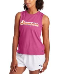 Champion Women's Logo Tank Top Peony Parade Pink Size L
