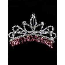 Birthday Girl Tiara Rhinestone Hair Comb Crystal Stone Metal Setting - US Ship