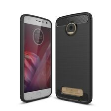 Motorola Moto Z2 Play TPU Case Carbon Fiber Optik Brushed Schutz Hülle Schwarz