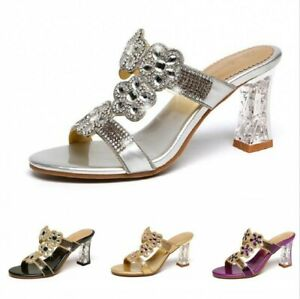 Womens 7.5cm Heel Rhinestone Open toe Fashion Slippers Shoes Backless Date Party