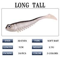 10PCS Lifelike Soft Fishing T Tail Soft Worm Lures Bait Fishing Tackle