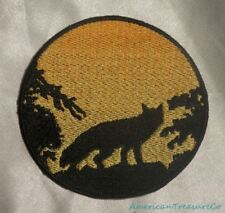 Embroidered Fox In Trees Sunset Silhouette Ombre Circle Patch Iron On Sew On USA