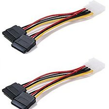 2 - 4Pin IDE Molex to 2 Serial ATA SATA Y Splitter Hard Drive Power Supply Cable