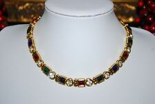 VINTAGE JEWELS OF INDIA STYLE MULTICOLOR RHINESTONES GOLD TONED CHOKER NECKLACE