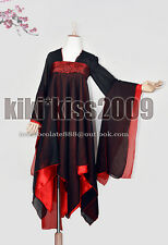 Gothic Lolita Punk Han Fu Chiffon Kimono Red/Black Bigan Bana Dancing Dress