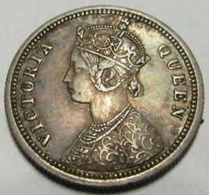 India Queen Victoria 1862 Silver Quarter Rupee, High Grade As Pics.