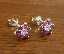 E058 - Genuine 9ct Yellow Gold Natural Pink Sapphire & Rhodolite Stud Earrings