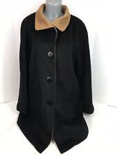 Ellen Tracy Wool Womens Coat Sz Large Regular Long Sleeve Button Up Black/Brown