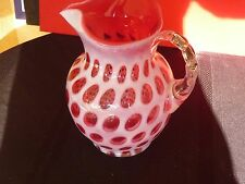 FENTON CRANBERRY COIN DOT OPALESCENT ICE LIP PITCHER or JUG - NO.1353