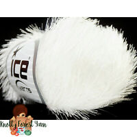 Eyelash Ice Yarn PURE WHITE Polyester #5 Bulky Chunky Weight  Fun Fur 50g 82yd