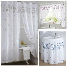 "Rose Embroidered Bathroom Cream/Latte or Rose/Fuchsia 80x42"" 80x48"" Curtains"