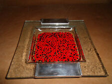 """Vintage Art Glass Ashtray Metal Red Black Accents 7.75"""" FREE US Shipping"""