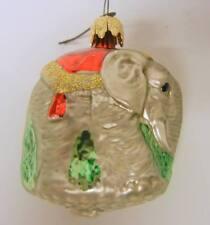 Old German Mercury Glass Walking Elephant Christmas Ornament
