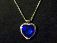Silver Tn Blue Glass Heart Pendant Rope Chain Necklace Carmen Made in Korea Tag