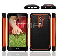Fits LG G2 Case Impact Rugged Rubber Hybrid Shockproof Armor Cover - Orange