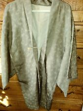 Japanese Haori Men's Kimono Style Jacket with front Tie Gray with Subtle Design