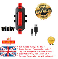 Bike Tail Light ''Tricky'' Scooter eBike Red Rear Bicycle LED UK New Flash USB