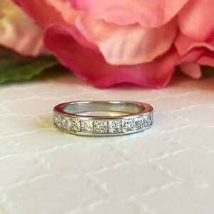 Half Eternity Engagement Band 1.00 CT Princess Cut Diamond 14K White Gold Finish