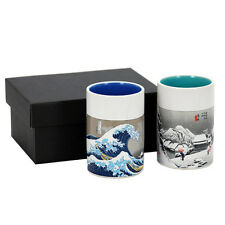 """2 PCS. Japanese 4""""H Sushi Tea Cups Gift Set Hiroshige Wave & Snow, Made in Japan"""