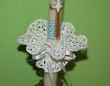 White handmade crochet candela decorazione per Battesimo Comunione & Battesimo