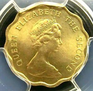 PCGS MS66 Gold Shield-Hong Kong 1976 Elizabeth II 20 Cents Super GEMBU Key Date