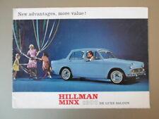 HILLMAN MINX 1600 DE LUXE SALOON orig c1963 UK Mkt Sales Brochure - Rootes