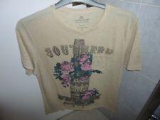 Fácil de color beige de manga corta camiseta talla L