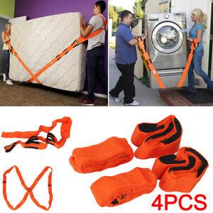4× Moving Lifting Shoulder Hand Straps Carry Heavy Furniture Appliances Fridge