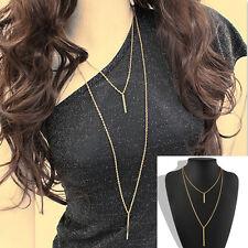 New Women Elegant Simple Two Layer Vertical Bar Bone Pendant Chain Necklace