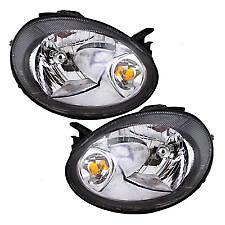 2003 2004 2005 DODGE NEON HEAD LAMP LIGHT SET W/BLACK BEZEL RIGHT & LEFT PAIR