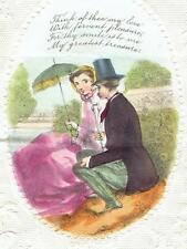 More details for 1857 victorian valentine card embossed hand coloured little bo peep 8890
