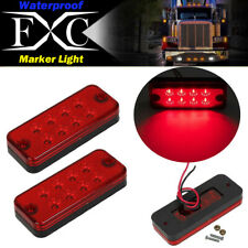 "2x 4"" Red 8LED Clearance Side Marker Light Indicator Lamp Truck Trailer Lorry"