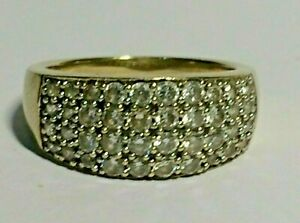 9 CT YELLOW GOLD LADIES CUBIC ZIRCON PAVE/CLUSTER RING, SIZE M&1/2. 5.50.GRAMS,