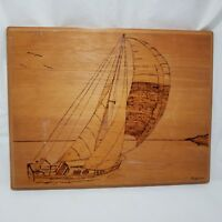 Wood Burned Sailboat Picture Wall Art Sailor Nautical Outsider Art Rustic Crafts