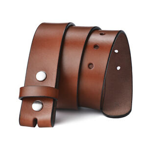 38mm Mens Leather Belt Black Genuine Leather Strap For Pin Buckle Without Buckle