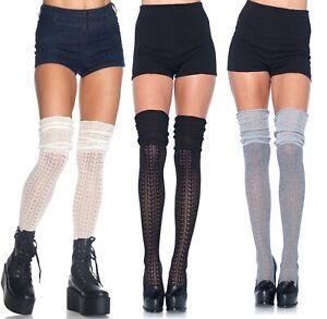 Acrylic Pointelle Over The Knee Scrunch Socks, Ruched Stockings, Cute, Winter
