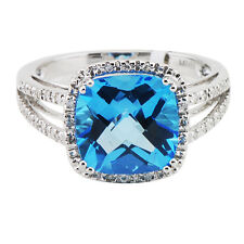 14K WHITE GOLD PAVE DIAMOND CUSHION CUT BLUE TOPAZ COCKTAIL HALO ENGAGEMENT RING