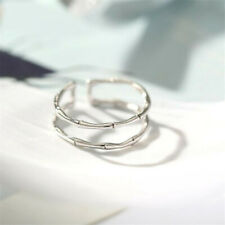 S925  Silver Ring  double layer bamboo Ring Opening adjustable Ring