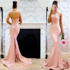 Mermaid Abendkleid Ballkleid Spitze Party Kleid ROSA rückenfrei Brautkleid BC548